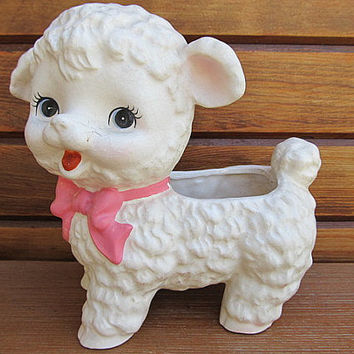 Vintage Napcoware Sweet Old Lamb Planter with Pink Bow