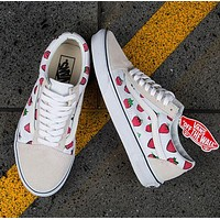 VANS Fashion Women Personality Sports Strawberry Print Canvas Flat Shoes I