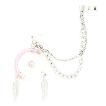 Pink Dreamcatcher Stud Earring Chain Ear Cuff Wrap CE38 Silver Tone Feather Charm Fashion Jewelry