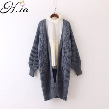 Long Cable Knit design Oversized Cardigan Coat