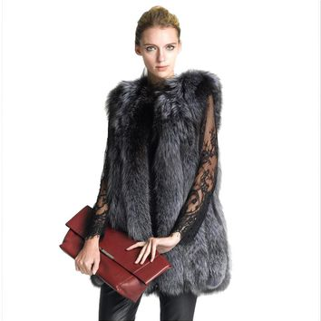 Winter Faux Silver Fox Fur Coat Vest