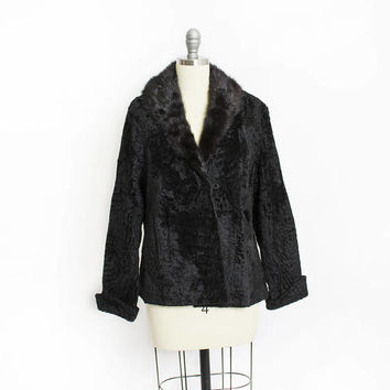 Vintage 1950s Fur Coat - Black Persian Lamb + Mink Collar Jacket - Small