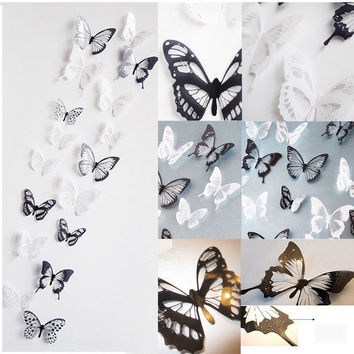 18 Pieces 3D Butterfly Crystal Transparent Decor Wall Sticker Home Wall Decals = 1946438532