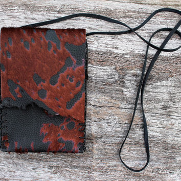 Black and Brown Medicine Bag, Goat Hair on Hide, Mahogany Obsidian Obelisk Pendant, Tigers Eye, Simple Necklace Pouch