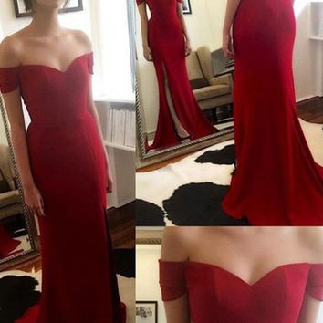 Red Prom Dresses,Mermaid Prom Dresses,Long Evening Dress