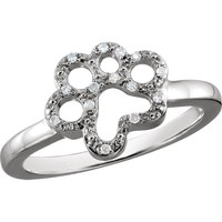 ASPCA Tender Voices® Sterling Silver .06 CTW Diamond Paw Ring