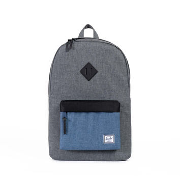 HERSCHEL SUPPLY CO HERITAGE BACKPACK IN CROSSHATCH NAVY/BLACK RUBBER