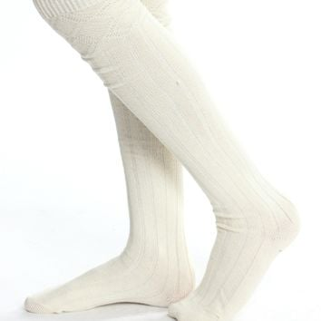 Knee High Rib Socks Cream