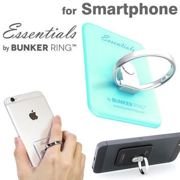 Dual Ring and Smart Phone Stand Type Back Sticker Case For Smart Phone (Matte Mint)