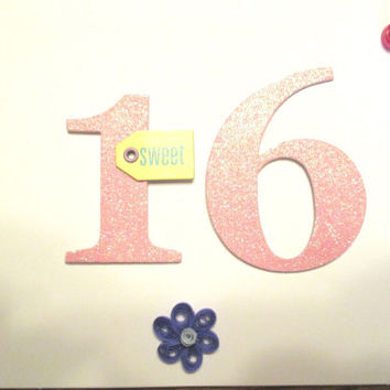 Girls 16 birthday, sweet 16 birthday card, handmade card, glittery card, quilling card, quilling art, 16th birthday card, blank card