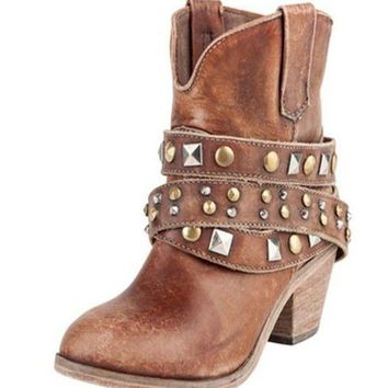 ICIKAB3 Corral Cognac Studded Wrap Ankle Boots P5042