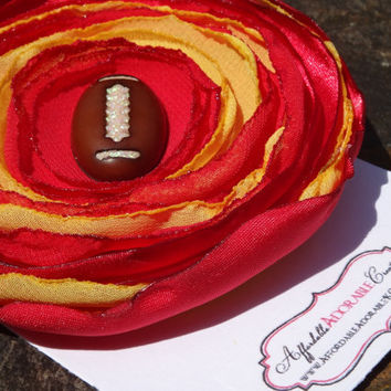 Red & Yellow Football Theme Fabric Flower Hair Clip