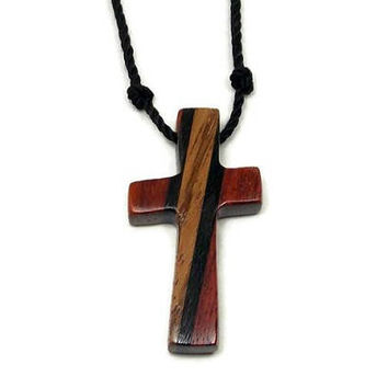 Mens Cross Pendant Necklace, Mens Jewelry Cross, Men's Cross Necklace, Religious Pendant, Wood Cross Pendant, Mens Pendant, Jewelry for Men