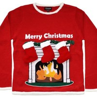 Guys - You make it rock! - Ugly Christmas Sweater - Lighted LED Fireplace Sweater with 3-D Stockings by Skedouche
