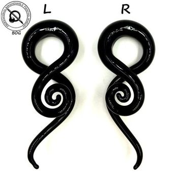 ac DCCKO2Q Pair Black Pyrex Glass Twist Spiral Ear Taper Stretcher Tunnel Plugs Expander Gauges Weights Hangers Body Piercing Jewelry