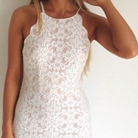 Seal The Deal White Lace Spaghetti Strap Scoop Neck Scallop X Back Bodycon Mini Dress