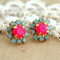 Neon Stud earring Neon Pink Aqua blue Summer Spring collection  2013 - 14k plated gold post earrings real swarovski rhinestones.
