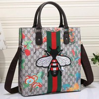 Gucci Trending Women Casual Bee Embroidery Leather Shoulder Bag Satchel Tote Handbag I