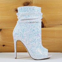 "Spotlight White Ice Glitter High Heel Ankle Boots - 4.75"" Heels"