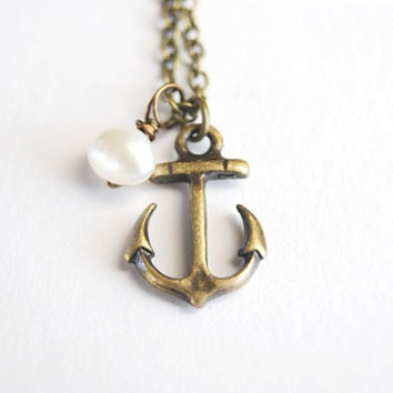 Antiqued Brass Anchor and Pearl Necklace.