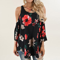 Summer Women 2017 Lace-up Off Shoulder Tops T-shirts Boho Ladies Floral Printed Round Neck Loose Casual Tops Tees Blusas