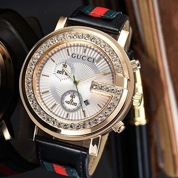 Gucci Popular Women Men Fashion Diamonds Quartz Movement Wristwatch Couple Watch I
