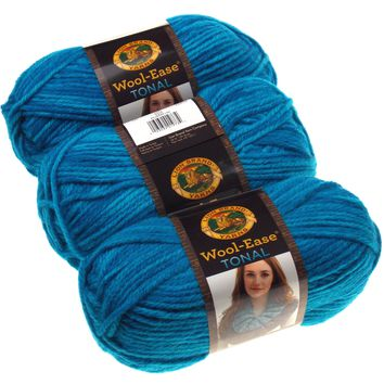 Lion Brand Yarns Wool Ease Tonal Aqua Blue Lot of 3 Acrylic Wool Knit Crocheting