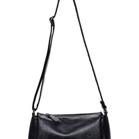 Embossed Faux Leather Zip Closure Shoulder Bag - Black