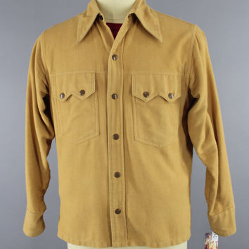Vintage 1970s Flannel Shirt / 70s Men's Shirt / Chamois Tan / Western Style Shirt / Richman Brothers / Vintage Menswear