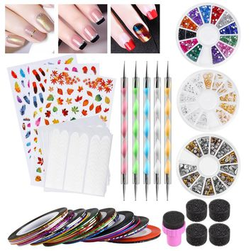 Etereauty Nail Art Kit Nail Sponges Dotting Pens French Stickers Striping Tapes Colored Acrylic Rhinestones Gold And Silver Metal Slices Nail Art Studs Set