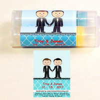 25 Wedding Couple Lip Balm Wedding Favors - personalize with hair and skin color, gay wedding favor, groom and groom, lip balm favor  A67