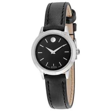 Movado 1881 Automatic  Black Dial Black Leather Ladies Watch 0606923