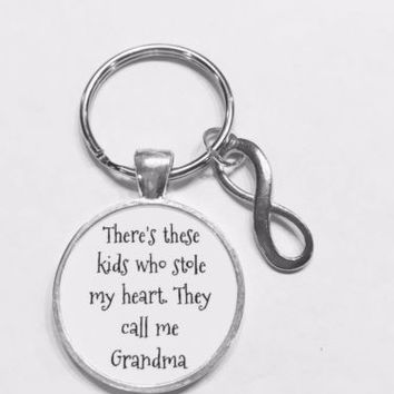 Grandma There's These Kids Who Stole My Heart Gift Grandmother Keychain