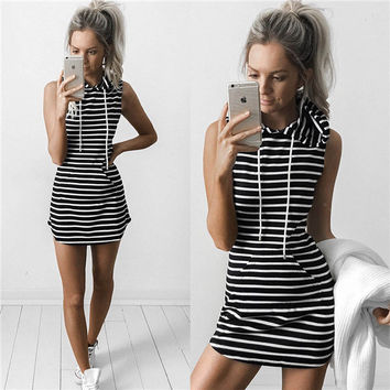 Summer Stripes Hats With Pocket Skirt Club Women's Fashion One Piece Dress [5024156804]