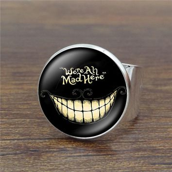 Alice In Wonderland Vintage Ring Art Glass Dome Cheshire Cat Rings for Women Jewelry Silver Ring Adjustable
