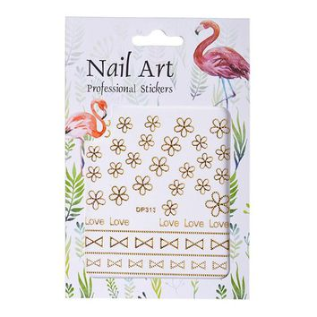 1Sheet Gold 3d Beads Nail Art Stickers Flowers/Text/Triangle Pattern Adhesive Nail Stickers Decals Beauty Nail Decor LADP313-324