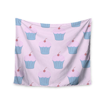 "NL Designs ""Pink Cupcakes"" Blue Blush Wall Tapestry"