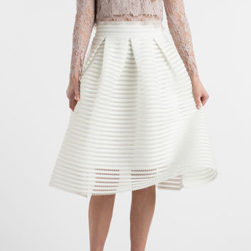 Vivian White Striped Midi Skirt