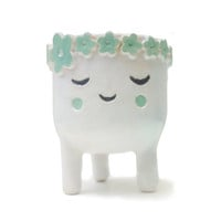 Sleeping Lady Plant Pot - Tripod Face Planter - Quirky White Ceramic Planter for Succulent or Cactus