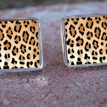 Glass Tile Stud Post Earrings-Cheetah Leopard Animal Print Jungle Cat Sexy