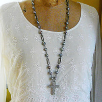Long Pendant Necklace Gray Freshwater Pearls Antiqued Silvertone Statement