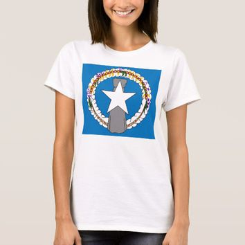 Women TShirt with Flag of Northern Mariana Islands
