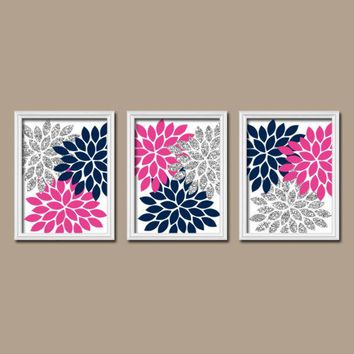 GLITTER Navy Hot Pink Gray Wall Art, Bedroom Canvas or Prints Bathroom Decor  Bedroom Pictures Flower Pictures Flower Burst Dahlia Set of 3