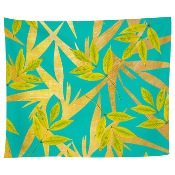 Gold and Teal Florals Tapestry