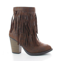 Strong Brown By Soda, Round Toe Layered Fringe Stacked Heel Ankle Bootie