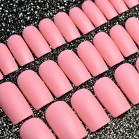 Square Slim Press On Nails Peach Pink Matte Lady Fake Nails Medium Size for Daily Wear Easy to Use