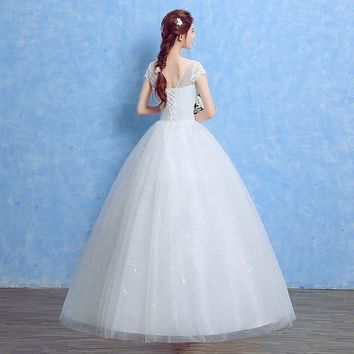 Lace With Crystal Elegant Wedding Dresses Romantic Bridal Gowns for Women Simple Appliques Color