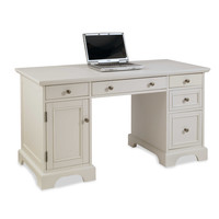 Home Styles Naples Pedestal Desk in White Finish