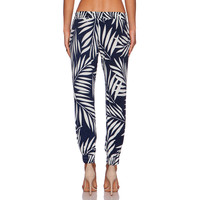 Blue Leaves Print Low-Waisted Trousers