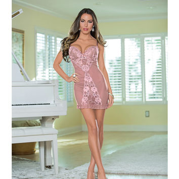 Lace Up Back Chemise Antique Rose Sm